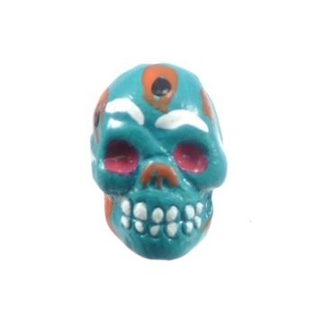 9 x 12mm Sugar Skull Hand-painted Clay Bead - Teal Blue | Day of th Dead Skull Bead | Natural Beads