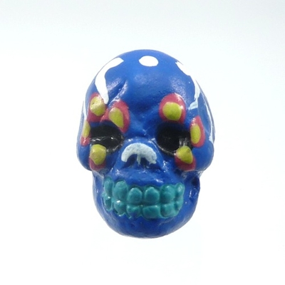9 x 12mm Sugar Skull Hand-painted Clay Bead - Royal Blue | Day of th Dead Skull Bead | Natural Beads