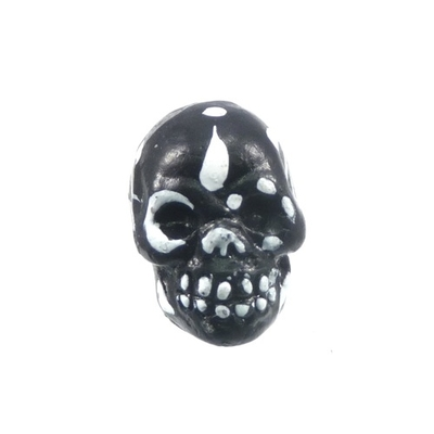 9 x 12mm Sugar Skull Hand-painted Clay Bead - Black and White | Day of th Dead Skull Bead | Natural Beads