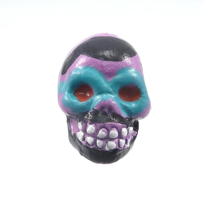 9 x 12mm Sugar Skull Hand-painted Clay Bead - Purple | Day of th Dead Skull Bead | Natural Beads