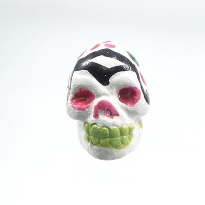 9 x 12mm Sugar Skull Hand-painted Clay Bead - White and Pink | Day of th Dead Skull Bead | Natural Beads