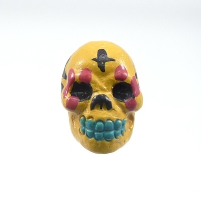 9 x 12mm Sugar Skull Hand-painted Clay Bead - Mustard Yellow | Day of th Dead Skull Bead | Natural Beads