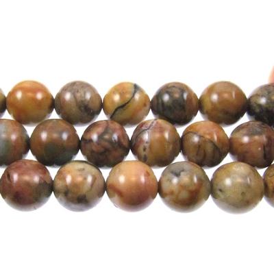 10mm Round Venus Jasper Stone Beads Tan Brown And Gray