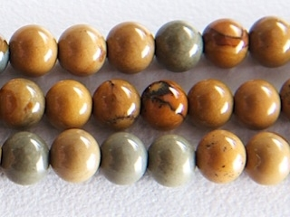 4mm Round Wildhorse Picture Jasper Stone Bead - Earth Tone Colors | Natural Semiprecious Gemstone