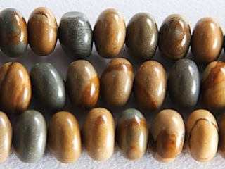 6mm Rondell Wildhorse Picture Jasper Stone Bead - Earth Tone Colors | Natural Semiprecious Gemstone