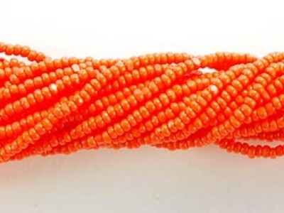 Czech Charlotte Glass Seed Bead Size 13 - Orange - Opaque Finish