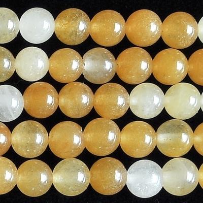 6mm Round Yellow Jade Stone Bead - Rich Yellow Serpentine | Natural Semiprecious Gemstone