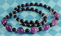 Amethyst and Onyx February Birthstone Necklace