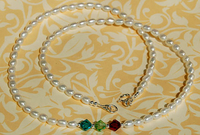 Mother's Birthstone & Pearl Necklace