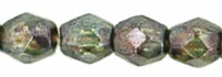 Czech Pressed Glass 3mm faceted round Green transparent luster