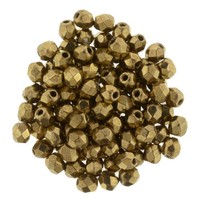 Image Czech Pressed Glass 3mm faceted round Bronze opaque iridescent