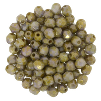 Image Czech Pressed Glass 3mm faceted round Gold Smoky Topaz opaque luster