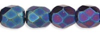 Image Czech Pressed Glass 4mm faceted round Iris Blue opaque iridescent