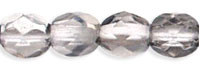 Czech Pressed Glass 4mm faceted round Silver metallic half coat