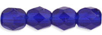 Czech Pressed Glass 4mm faceted round cobalt blue transparent