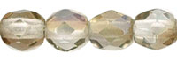 Image Czech Pressed Glass 4mm faceted round Twilight Crystal transparent luster