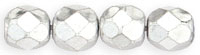 Czech Pressed Glass 6mm faceted round Silver metallic