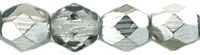 Czech Pressed Glass 6mm faceted round Silver metallic half coat