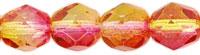 Czech Pressed Glass 6mm faceted round Fuchsia & Lemon dual coat transparent