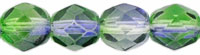 Czech Pressed Glass 6mm faceted round Blueberry & Green Tea dual coat transparent