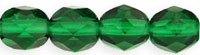 Czech Pressed Glass 6mm faceted round Emerald green transparent
