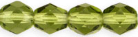 Image Czech Pressed Glass 6mm faceted round Olivine transparent