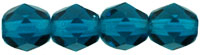 Czech Pressed Glass 6mm faceted round Teal blue transparent