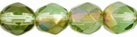 Image Czech Pressed Glass 6mm faceted round Chrysolite Celsian transparent luster