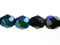Image Czech Pressed Glass 6mm faceted round Jet AB  opaque iridescent