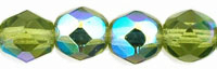 Image Czech Pressed Glass 6mm faceted round Olivine AB  transparent iridescent