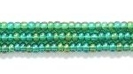 Image Seed Beads Czech Seed size 11 christmas green transparent iridescent