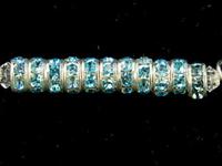Swarovski Crystal Beads 4mm rhinestone rondell (1775) aquamarine (aqua blue) sterling silver plate