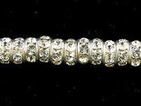 Swarovski Crystal Beads 4mm rhinestone rondell (1775) crystal (clear) sterling silver plate