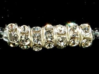 Swarovski Crystal Beads 6mm rhinestone rondell (1775) crystal (clear) sterling silver plate