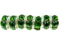 Swarovski Crystal Beads 6mm rhinestone rondell (1775) fern green sterling silver plate