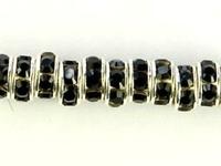 Swarovski Crystal Beads 6mm rhinestone rondell (1775) jet (black) sterling silver plate
