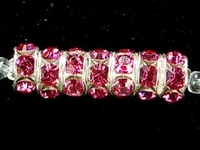 Swarovski Crystal Beads 6mm rhinestone rondell (1775) rose (pink) sterling silver plate