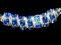 Image Swarovski Crystal Beads 6mm rhinestone rondell (1775) sapphire (blue) sterling s