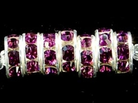 Swarovski Crystal Beads 8mm rhinestone rondell (1775) amethyst (dark purple) sterling silver plate