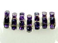 Swarovski Crystal Beads 8mm rhinestone rondell (1775) purple velvet (dark royal purple) sterling silver plate