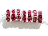 Swarovski Crystal Beads 8mm rhinestone rondell (1775) rose (pink) sterling silver plate