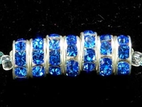 Swarovski Crystal Beads 8mm rhinestone rondell (1775) sapphire (blue) sterling silver plate