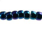 Czech Pressed Glass 6mm crow blue iris opaque iridescent