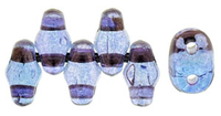 Seed Beads Czech MiniDuo 2 x 4mm amethyst transparent luster