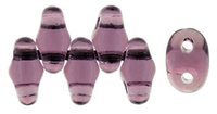 Seed Beads Czech MiniDuo 2 x 4mm medium amethyst transparent