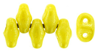 Image Seed Beads Czech MiniDuo 2 x 4mm yellow opaque luster