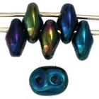 Seed Beads Czech SuperDuo 2 x 5mm green iris opaque iridescent