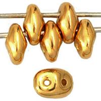 Seed Beads Czech SuperDuo 2 x 5mm 24K gold plated metallic