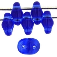 Image Seed Beads Czech SuperDuo 2 x 5mm sapphire transparent