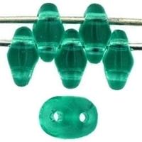 Seed Beads Czech SuperDuo 2 x 5mm emerald transparent